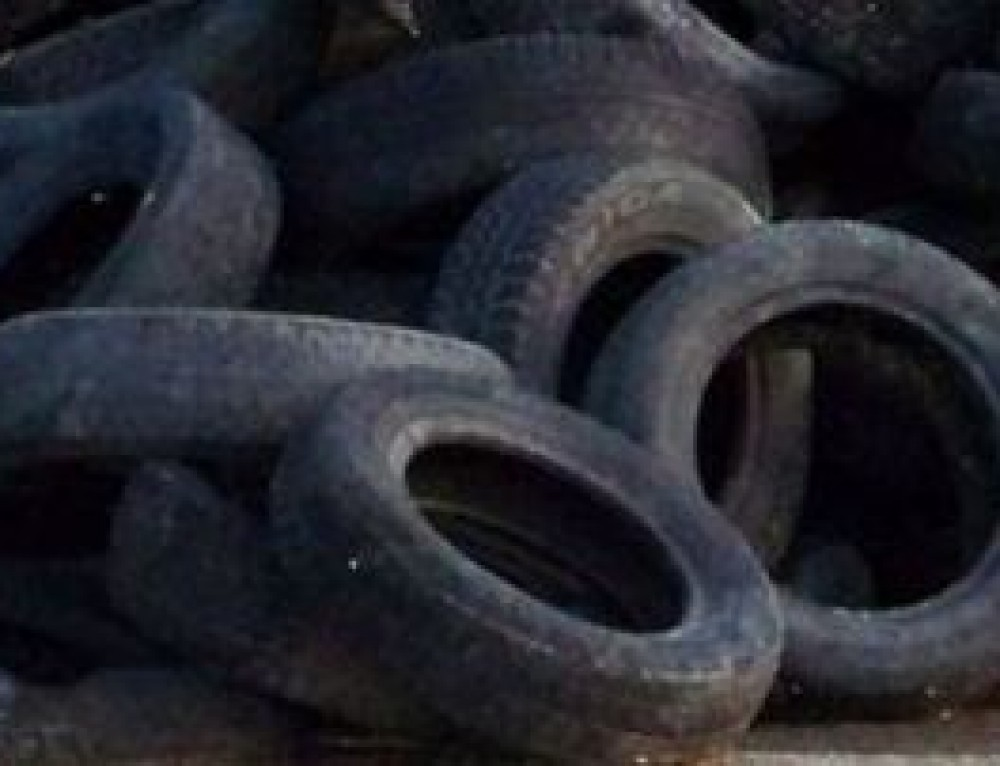 Recycling tyres to save going to landfill with rubbish