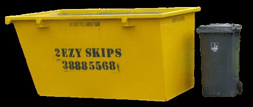 3m skip bin with wheelie bin beside it