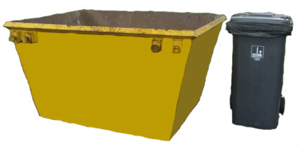 3m skip bin with wheelie bin beside it