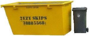 4m skip bin with wheelie bin beside it